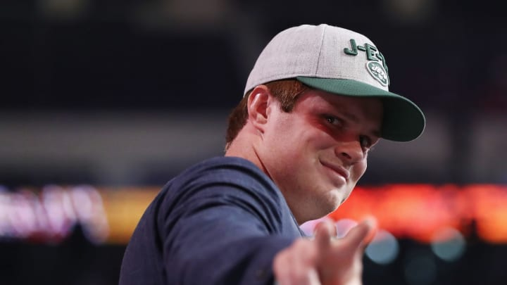 ARLINGTON, TX – APRIL 26: Sam Darnold of USC gestures after being picked #3 overall by the New York Jets during the first round of the 2018 NFL Draft at AT&T Stadium on April 26, 2018 in Arlington, Texas. (Photo by Ronald Martinez/Getty Images)