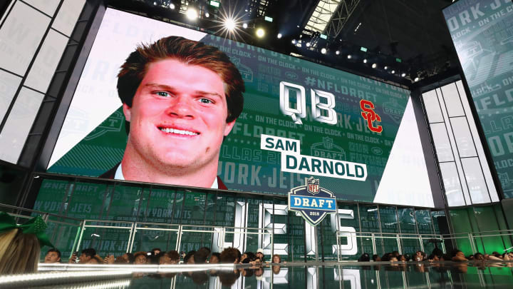 ARLINGTON, TX – APRIL 26: A video board displays an image of Sam Darnold of USC after he was picked #3 overall by the New York Jets during the first round of the 2018 NFL Draft at AT&T Stadium on April 26, 2018 in Arlington, Texas. (Photo by Ronald Martinez/Getty Images)