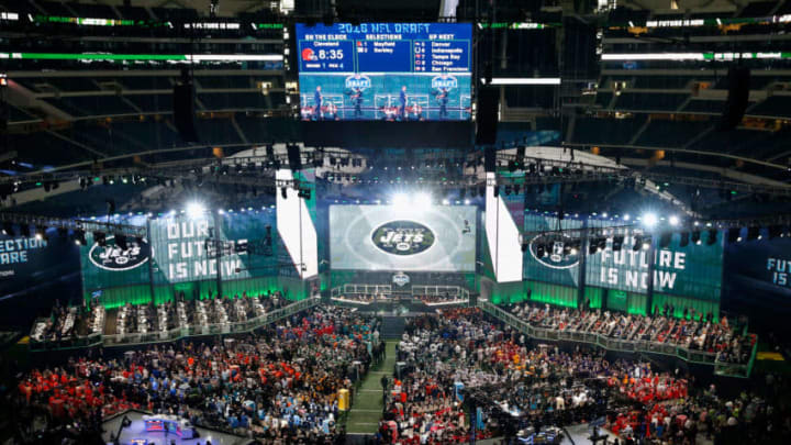 ARLINGTON, TX - APRIL 26: The New York Jets logo is seen on a video board during the first round of the 2018 NFL Draft at AT&T Stadium on April 26, 2018 in Arlington, Texas. (Photo by Tim Warner/Getty Images)
