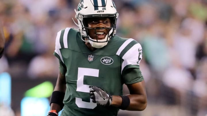 EAST RUTHERFORD, NJ - AUGUST 10: Teddy Bridgewater #5 of the New York Jets celebrates a touchdown from teammate Isaiah Crowell in the first quarter against the Atlanta Falcons during a preseason game at MetLife Stadium on August 10, 2018 in East Rutherford, New Jersey. (Photo by Elsa/Getty Images)