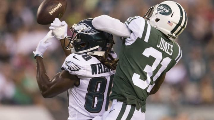 PHILADELPHIA, PA - AUGUST 30: Markus Wheaton #80 of the Philadelphia Eagles cannot catch a pass against Derrick Jones #31 of the New York Jets in the first quarter during the preseason game at Lincoln Financial Field on August 30, 2018 in Philadelphia, Pennsylvania. (Photo by Mitchell Leff/Getty Images)