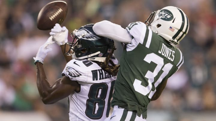 PHILADELPHIA, PA – AUGUST 30: Markus Wheaton #80 of the Philadelphia Eagles cannot catch a pass against Derrick Jones #31 of the New York Jets in the first quarter during the preseason game at Lincoln Financial Field on August 30, 2018 in Philadelphia, Pennsylvania. (Photo by Mitchell Leff/Getty Images)