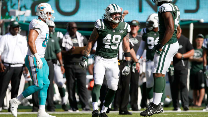 EAST RUTHERFORD, NJ – SEPTEMBER 24: Dylan Donahue #49 and David Bass #47 of the New York Jets celebrate the play against the Miami Dolphins during the second half of an NFL game at MetLife Stadium on September 24, 2017 in East Rutherford, New Jersey. The New York Jets defeated the Miami Dolphins 20-6. (Photo by Rich Schultz/Getty Images)