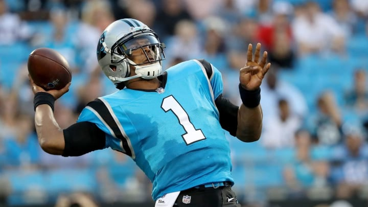 CHARLOTTE, NC – AUGUST 24: Cam Newton #1 of the Carolina Panthers throws a pass against the New England Patriots in the first quarter during their game at Bank of America Stadium on August 24, 2018 in Charlotte, North Carolina. (Photo by Streeter Lecka/Getty Images)