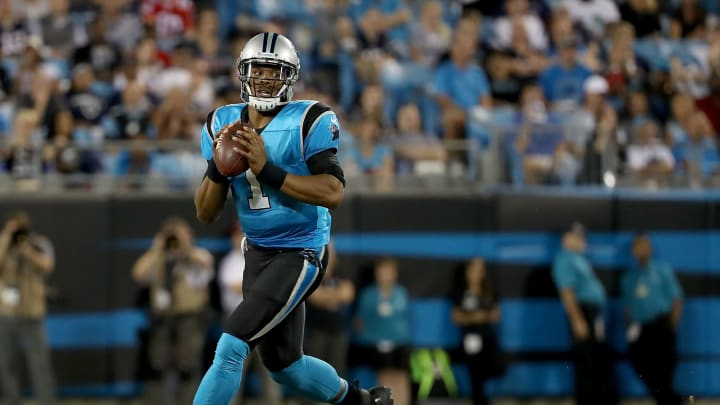 CHARLOTTE, NC – AUGUST 24: Cam Newton #1 of the Carolina Panthers throws a pass against the New England Patriots in the second quarter during their game at Bank of America Stadium on August 24, 2018 in Charlotte, North Carolina. (Photo by Streeter Lecka/Getty Images)