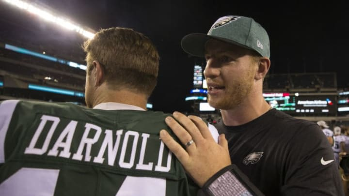 PHILADELPHIA, PA - AUGUST 30: Sam Darnold #14 of the New York Jets talks to Carson Wentz #11 of the Philadelphia Eagles after the preseason game at Lincoln Financial Field on August 30, 2018 in Philadelphia, Pennsylvania. The Eagles defeated the Jets 10-9. (Photo by Mitchell Leff/Getty Images)
