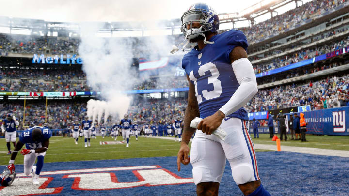 EAST RUTHERFORD, NJ – SEPTEMBER 09: Odell Beckham Jr.#13 of the New York Giants takes the field before the game against the Jacksonville Jaguars at MetLife Stadium on September 9, 2018 in East Rutherford, New Jersey. (Photo by Jeff Zelevansky/Getty Images)