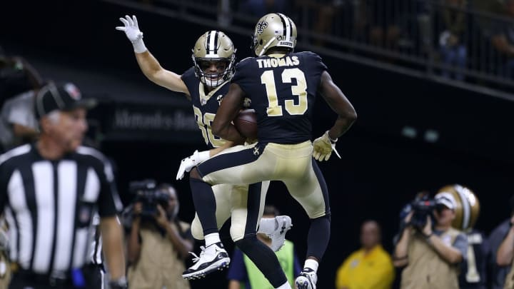 NEW ORLEANS, LA – SEPTEMBER 09: Michael Thomas #13 of the New Orleans Saints celebrates a touchdown with Austin Carr #80 during the first half against the Tampa Bay Buccaneers at the Mercedes-Benz Superdome on September 9, 2018 in New Orleans, Louisiana. (Photo by Jonathan Bachman/Getty Images)