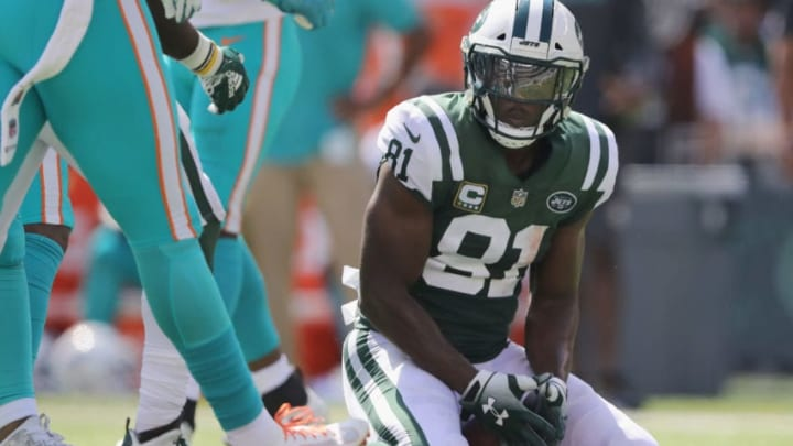 EAST RUTHERFORD, NJ - SEPTEMBER 16: Wide receiver Quincy Enunwa #81 of the New York Jets reacts after making a catch in the second quarter against the Miami Dolphins during the first half at MetLife Stadium on September 16, 2018 in East Rutherford, New Jersey. (Photo by Elsa/Getty Images)