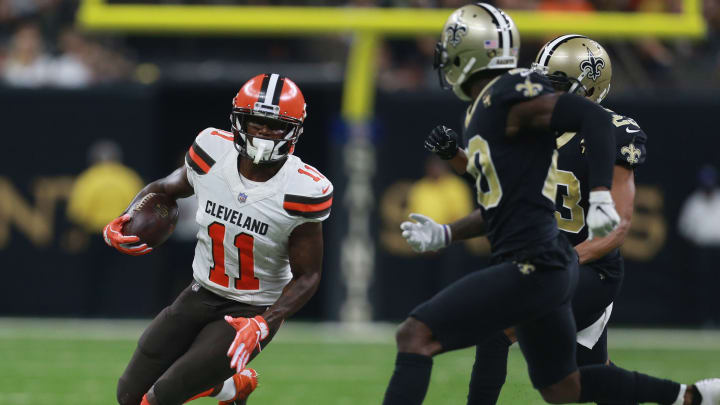 NEW ORLEANS, LA – SEPTEMBER 16: Antonio Callaway #11 of the Cleveland Browns runs the ball during the fourth quarter against the New Orleans Saints at Mercedes-Benz Superdome on September 16, 2018 in New Orleans, Louisiana. (Photo by Sean Gardner/Getty Images)