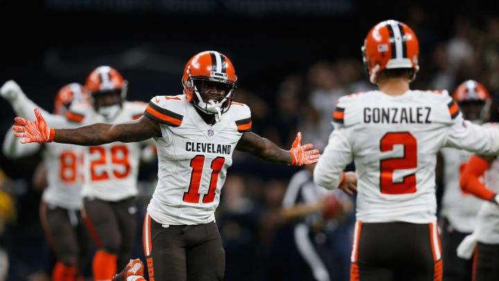 NEW ORLEANS, LA – SEPTEMBER 16: Antonio Callaway #11 of the Cleveland Browns reacts to a touchdown during the fourth quarter against the New Orleans Saints at Mercedes-Benz Superdome on September 16, 2018 in New Orleans, Louisiana. (Photo by Jonathan Bachman/Getty Images)