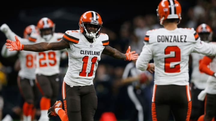 NEW ORLEANS, LA - SEPTEMBER 16: Antonio Callaway #11 of the Cleveland Browns reacts to a touchdown during the fourth quarter against the New Orleans Saints at Mercedes-Benz Superdome on September 16, 2018 in New Orleans, Louisiana. (Photo by Jonathan Bachman/Getty Images)