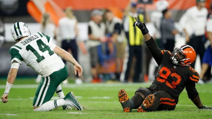 CLEVELAND, OH - SEPTEMBER 20: Trevon Coley #93 of the Cleveland Browns celebrates in front of Sam Darnold #14 of the New York Jets after an interception by Terrance Mitchell #39 (not pictured) during the fourth quarter at FirstEnergy Stadium on September 20, 2018 in Cleveland, Ohio. (Photo by Joe Robbins/Getty Images)