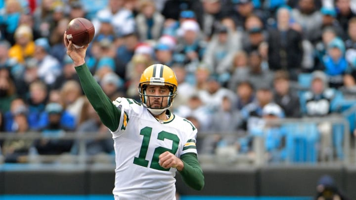 CHARLOTTE, NC – DECEMBER 17: Aaron Rodgers #12 of the Green Bay Packers throws a pass against the Carolina Panthers in the fourth quarter during their game at Bank of America Stadium on December 17, 2017 in Charlotte, North Carolina. (Photo by Grant Halverson/Getty Images)