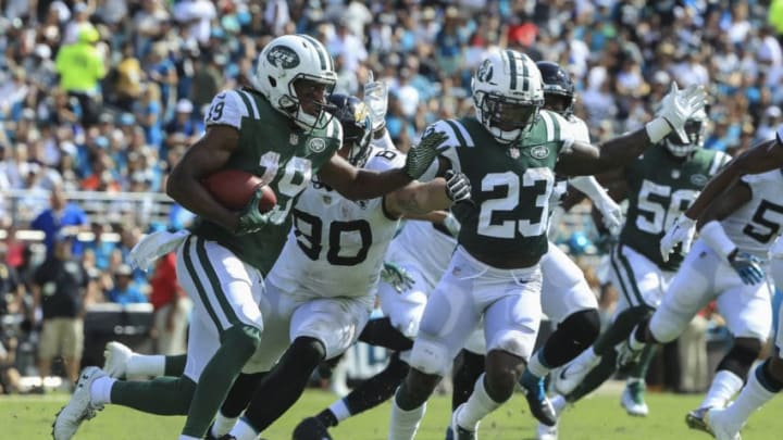 JACKSONVILLE, FL - SEPTEMBER 30: Andre Roberts #19 of the New York Jets runs with the ball during the second half against the Jacksonville Jaguars at TIAA Bank Field on September 30, 2018 in Jacksonville, Florida. (Photo by Sam Greenwood/Getty Images)