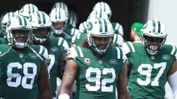 JACKSONVILLE, FL - SEPTEMBER 30: Members of the New York Jets walk onto the field before their game against the Jacksonville Jaguars at TIAA Bank Field on September 30, 2018 in Jacksonville, Florida. (Photo by Scott Halleran/Getty Images)