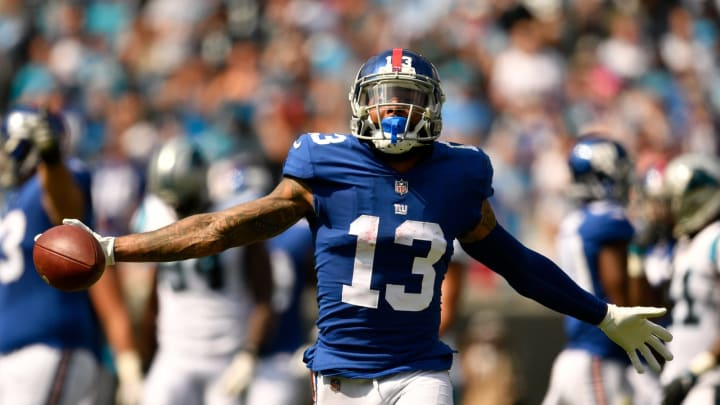CHARLOTTE, NC – OCTOBER 07: Odell Beckham Jr. #13 of the New York Giants reacts against the Carolina Panthers in the second quarter during their game at Bank of America Stadium on October 7, 2018 in Charlotte, North Carolina. (Photo by Grant Halverson/Getty Images)