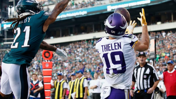 PHILADELPHIA, PA – OCTOBER 07: Wide receiver Adam Thielen #19 of the Minnesota Vikings makes a catch against cornerback Ronald Darby #21 of the Philadelphia Eagles to run 3 yards for a touchdown during the second quarter at Lincoln Financial Field on October 7, 2018 in Philadelphia, Pennsylvania. (Photo by Jeff Zelevansky/Getty Images)