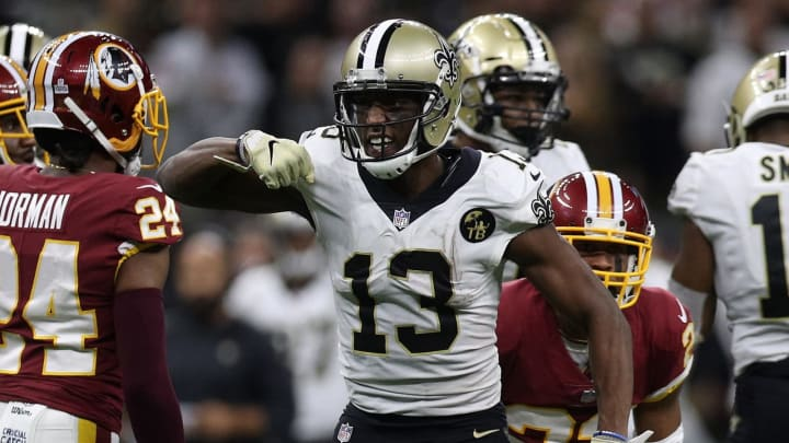 NEW ORLEANS, LA – OCTOBER 08: Michael Thomas #13 of the New Orleans Saints reacts during the second half against the Washington Redskins at Mercedes-Benz Superdome on October 8, 2018 in New Orleans, Louisiana. (Photo by Chris Graythen/Getty Images)