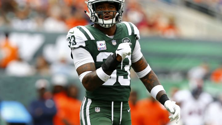 EAST RUTHERFORD, NEW JERSEY – OCTOBER 07: Jamal Adams #33 of the New York Jets reacts against the Denver Broncos during the first quarter in the game at MetLife Stadium on October 07, 2018 in East Rutherford, New Jersey. (Photo by Mike Stobe/Getty Images)