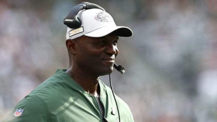EAST RUTHERFORD, NEW JERSEY - OCTOBER 07: Head coach Todd Bowles of the New York Jets smiles against the Denver Broncos during the second half in the game at MetLife Stadium on October 07, 2018 in East Rutherford, New Jersey. (Photo by Mike Stobe/Getty Images)
