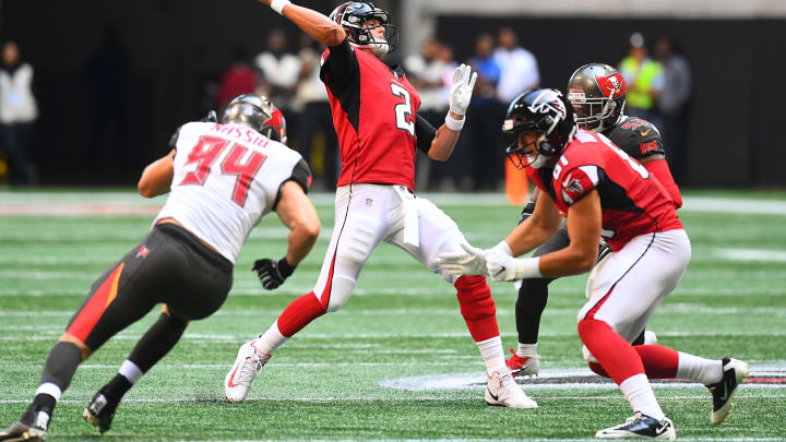 ATLANTA, GA – OCTOBER 14: Matt Ryan #2 of the Atlanta Falcons throws the ball during the second quarter against the Tampa Bay Buccaneers at Mercedes-Benz Stadium on October 14, 2018 in Atlanta, Georgia. (Photo by Scott Cunningham/Getty Images)