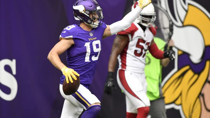 MINNEAPOLIS, MN – OCTOBER 14: Adam Thielen #19 of the Minnesota Vikings celebrates after scoring a touchdown in the third quarter of the game against the Arizona Cardinals at U.S. Bank Stadium on October 14, 2018 in Minneapolis, Minnesota. (Photo by Hannah Foslien/Getty Images)