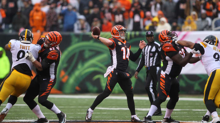 CINCINNATI, OH – OCTOBER 14: Andy Dalton #14 of the Cincinnati Bengals throws a pass during the fourth quarter of the game agains the Pittsburgh Steelers at Paul Brown Stadium on October 14, 2018 in Cincinnati, Ohio. Pittsburgh defeated Cincinnati 28-21. (Photo by John Grieshop/Getty Images)