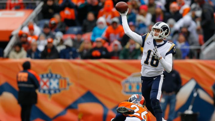 DENVER, CO – OCTOBER 14: Quarterback Jared Goff #16 of the Los Angeles Rams throws a pass as Darian Stewart #26 of the Denver Broncos applies pressure during the third quarter at Broncos Stadium at Mile High on October 14, 2018 in Denver, Colorado. The Rams defeated the Broncos 23-20. (Photo by Justin Edmonds/Getty Images)