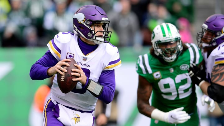EAST RUTHERFORD, NJ – OCTOBER 21: Kirk Cousins #8 of the Minnesota Vikings looks to pass against the New York Jets during the second quarter at MetLife Stadium on October 21, 2018 in East Rutherford, New Jersey. (Photo by Steven Ryan/Getty Images)