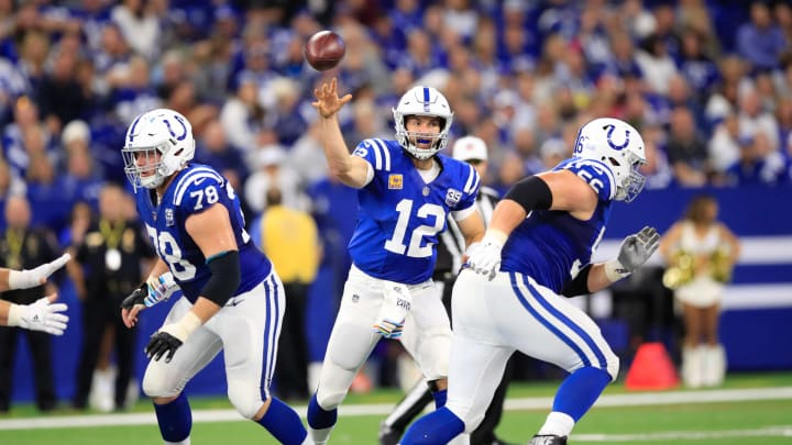 INDIANAPOLIS, IN – OCTOBER 21: Andrew Luck #12 of the Indianapolis Colts throws a pass in the fourth quarter against the Buffalo Bills at Lucas Oil Stadium on October 21, 2018 in Indianapolis, Indiana. (Photo by Andy Lyons/Getty Images)