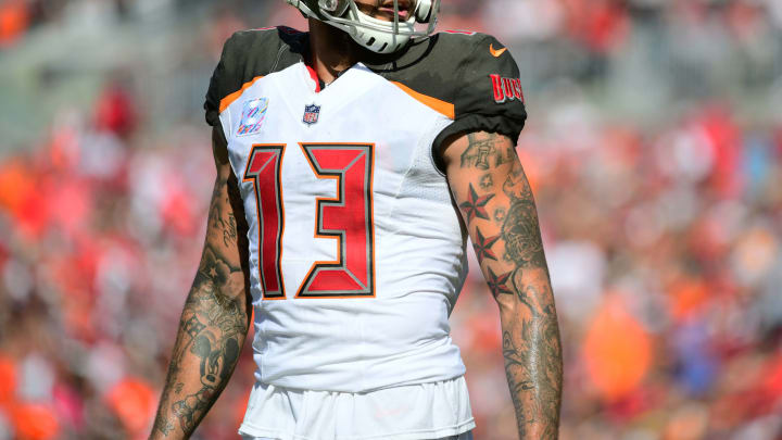 TAMPA, FL – OCTOBER 21: Mike Evans #13 of the Tampa Bay Buccaneers reacts after a sack in the fourth quarter against the Cleveland Browns on October 2, 2018 at Raymond James Stadium in Tampa, Florida. The Buccaneers won 26-23 in overtime. (Photo by Julio Aguilar/Getty Images)