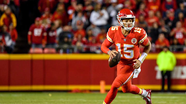 KANSAS CITY, MO – OCTOBER 21: Patrick Mahomes #15 of the Kansas City Chiefs rolls out of the pocket in the second quarter of the game against the Cincinnati Bengals at Arrowhead Stadium on October 21, 2018 in Kansas City, Kansas. (Photo by Peter Aiken/Getty Images)