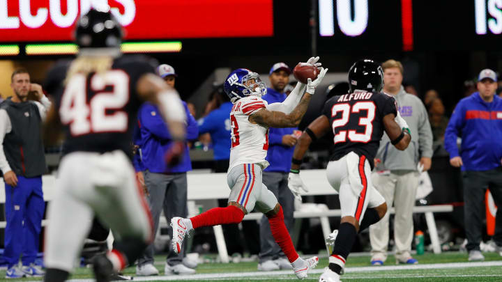ATLANTA, GA – OCTOBER 22: Odell Beckham Jr. #13 of the New York Giants receives a catch during the third quarter against the Atlanta Falcons at Mercedes-Benz Stadium on October 22, 2018 in Atlanta, Georgia. (Photo by Kevin C. Cox/Getty Images)