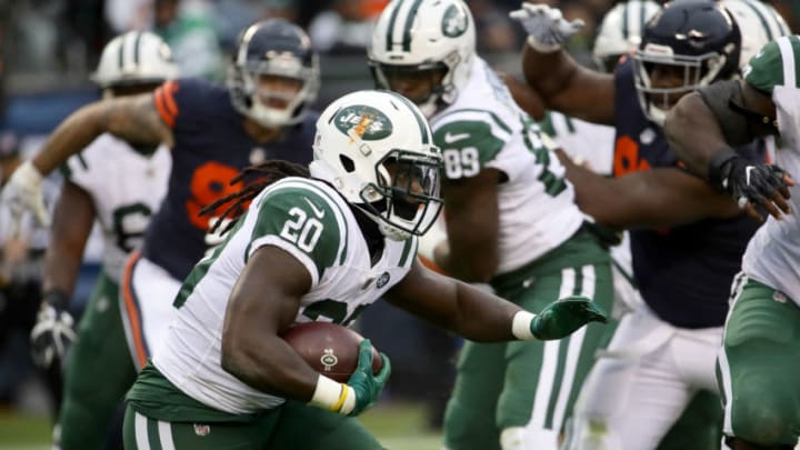 CHICAGO, IL - OCTOBER 28: Isaiah Crowell #20 of the New York Jets carries the football in the third quarter against the Chicago Bears at Soldier Field on October 28, 2018 in Chicago, Illinois. (Photo by Jonathan Daniel/Getty Images)