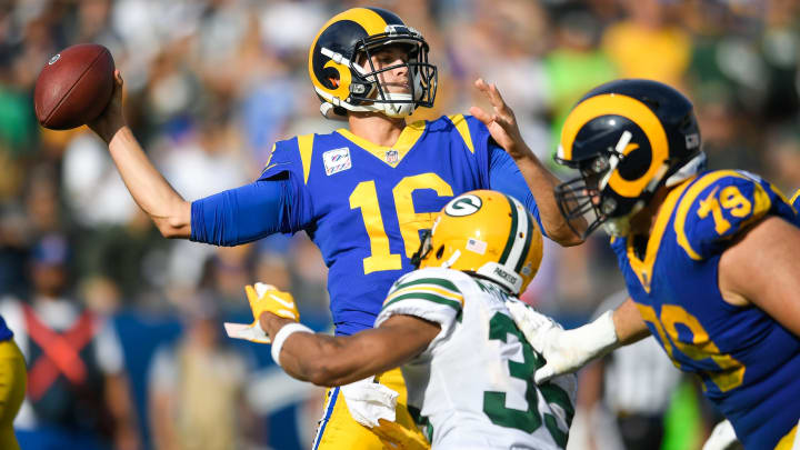 LOS ANGELES, CA – OCTOBER 28: Quarterback Jared Goff #16 of the Los Angeles Rams throws an incomplete pass in the third quarter against the Green Bay Packers at Los Angeles Memorial Coliseum on October 28, 2018 in Los Angeles, California. (Photo by John McCoy/Getty Images)
