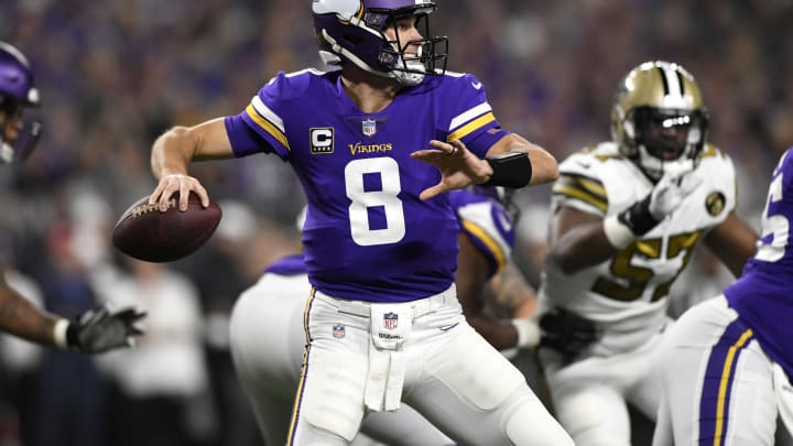 MINNEAPOLIS, MN – OCTOBER 28: Kirk Cousins #8 of the Minnesota Vikings passes the ball in the first quarter of the game against the New Orleans Saints at U.S. Bank Stadium on October 28, 2018 in Minneapolis, Minnesota. (Photo by Hannah Foslien/Getty Images)
