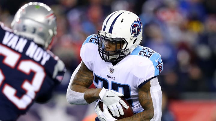 FOXBOROUGH, MA – JANUARY 13: Derrick Henry #22 of the Tennessee Titans carries the ball in the second quarter of the AFC Divisional Playoff game against the New England Patriots at Gillette Stadium on January 13, 2018 in Foxborough, Massachusetts. (Photo by Maddie Meyer/Getty Images)