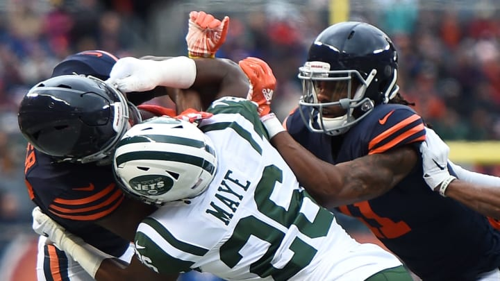 CHICAGO, IL – OCTOBER 28: Anthony Miller #17 of the Chicago Bears is held by Marcus Maye #26 of the New York Jets in the first quarter at Soldier Field on October 28, 2018 in Chicago, Illinois. (Photo by Stacy Revere/Getty Images)