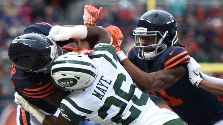 CHICAGO, IL - OCTOBER 28: Anthony Miller #17 of the Chicago Bears is held by Marcus Maye #26 of the New York Jets in the first quarter at Soldier Field on October 28, 2018 in Chicago, Illinois. (Photo by Stacy Revere/Getty Images)