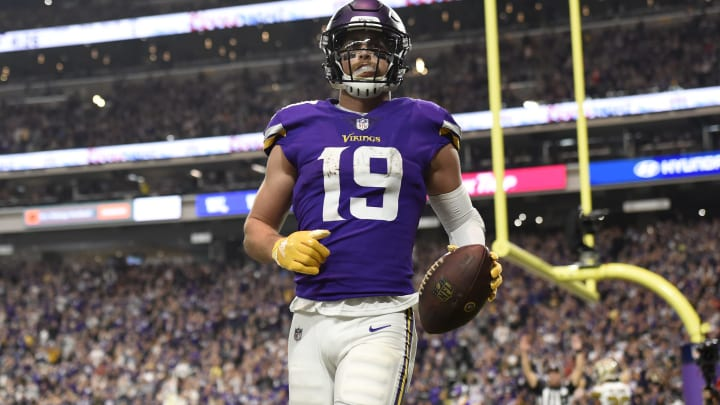 MINNEAPOLIS, MN – OCTOBER 28: Adam Thielen #19 of the Minnesota Vikings catches the ball in the end zone for a touchdown in the fourth quarter of the game against the New Orleans Saints at U.S. Bank Stadium on October 28, 2018 in Minneapolis, Minnesota. (Photo by Hannah Foslien/Getty Images)