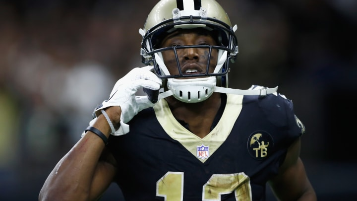 NEW ORLEANS, LA – NOVEMBER 04: Michael Thomas #13 of the New Orleans Saints pretends to make a call on a cell phone in celebration of scoring a touchdown in the fourth quarter of the game against the Los Angeles Rams at Mercedes-Benz Superdome on November 4, 2018 in New Orleans, Louisiana. (Photo by Wesley Hitt/Getty Images)