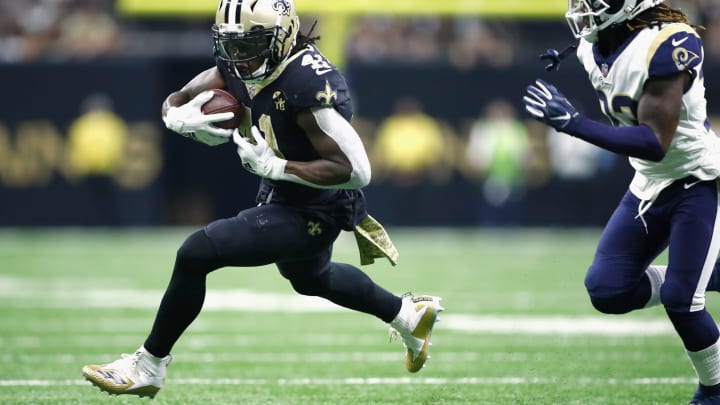 NEW ORLEANS, LA – NOVEMBER 04: Alvin Kamara #41 of the New Orleans Saints carries the ball during the second quarter of the game against the Los Angeles Rams at Mercedes-Benz Superdome on November 4, 2018 in New Orleans, Louisiana. (Photo by Wesley Hitt/Getty Images)