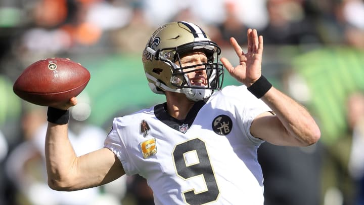 CINCINNATI, OH – NOVEMBER 11: Drew Brees #9 of the New Orleans Saints throws a pass during the first quarter of the game against the Cincinnati Bengals at Paul Brown Stadium on November 11, 2018 in Cincinnati, Ohio. (Photo by John Grieshop/Getty Images)