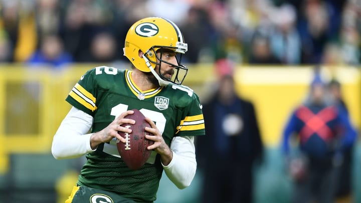 GREEN BAY, WI – NOVEMBER 11: Aaron Rodgers #12 of the Green Bay Packers drops back to pass during the first half of a game against the Miami Dolphins at Lambeau Field on November 11, 2018 in Green Bay, Wisconsin. (Photo by Stacy Revere/Getty Images)