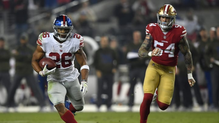 SANTA CLARA, CA – NOVEMBER 12: Saquon Barkley #26 of the New York Giants rushes with the ball against the San Francisco 49ers during their NFL game at Levi's Stadium on November 12, 2018 in Santa Clara, California. (Photo by Thearon W. Henderson/Getty Images)