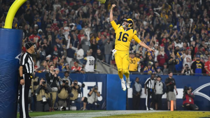 LOS ANGELES, CA – NOVEMBER 19: Quarterback Jared Goff #16 of the Los Angeles Rams celebrates his touchdown on a seven yard rush by dunking the football between the goal posts during the third quarter of the game against the Kansas City Chiefs at Los Angeles Memorial Coliseum on November 19, 2018 in Los Angeles, California. (Photo by Kevork Djansezian/Getty Images)