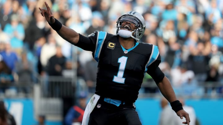CHARLOTTE, NC – NOVEMBER 25: Cam Newton #1 of the Carolina Panthers celebrates a touchdown against the Seattle Seahawks in the fourth quarter during their game at Bank of America Stadium on November 25, 2018 in Charlotte, North Carolina. (Photo by Streeter Lecka/Getty Images)