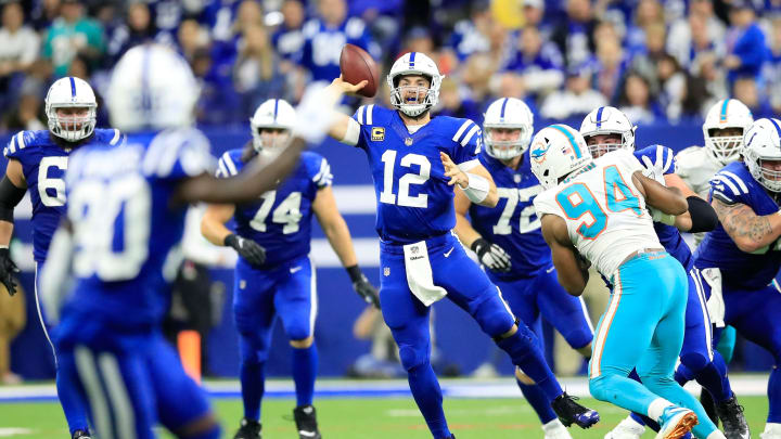 INDIANAPOLIS, IN – NOVEMBER 25: Andrew Luck #12 of the Indianapolis Colts throws a pass in the game against the Miami Dolphins at Lucas Oil Stadium on November 25, 2018 in Indianapolis, Indiana. (Photo by Andy Lyons/Getty Images)
