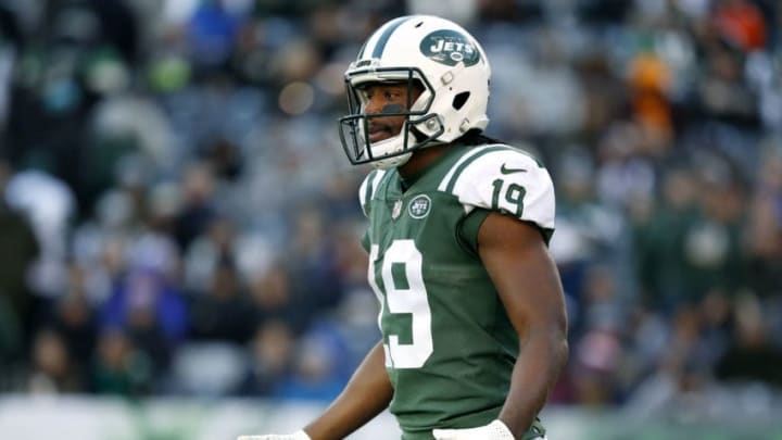 EAST RUTHERFORD, NEW JERSEY - NOVEMBER 11: Andre Roberts #19 of the New York Jets reacts during the third quarter against the Buffalo Bills at MetLife Stadium on November 11, 2018 in East Rutherford, New Jersey. (Photo by Michael Owens/Getty Images)
